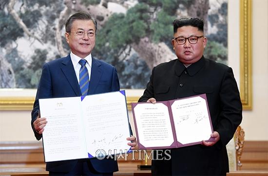 """남북정상 """"한반도 핵 위협 없는 평화 땅 만들기 위해 노력"""""""